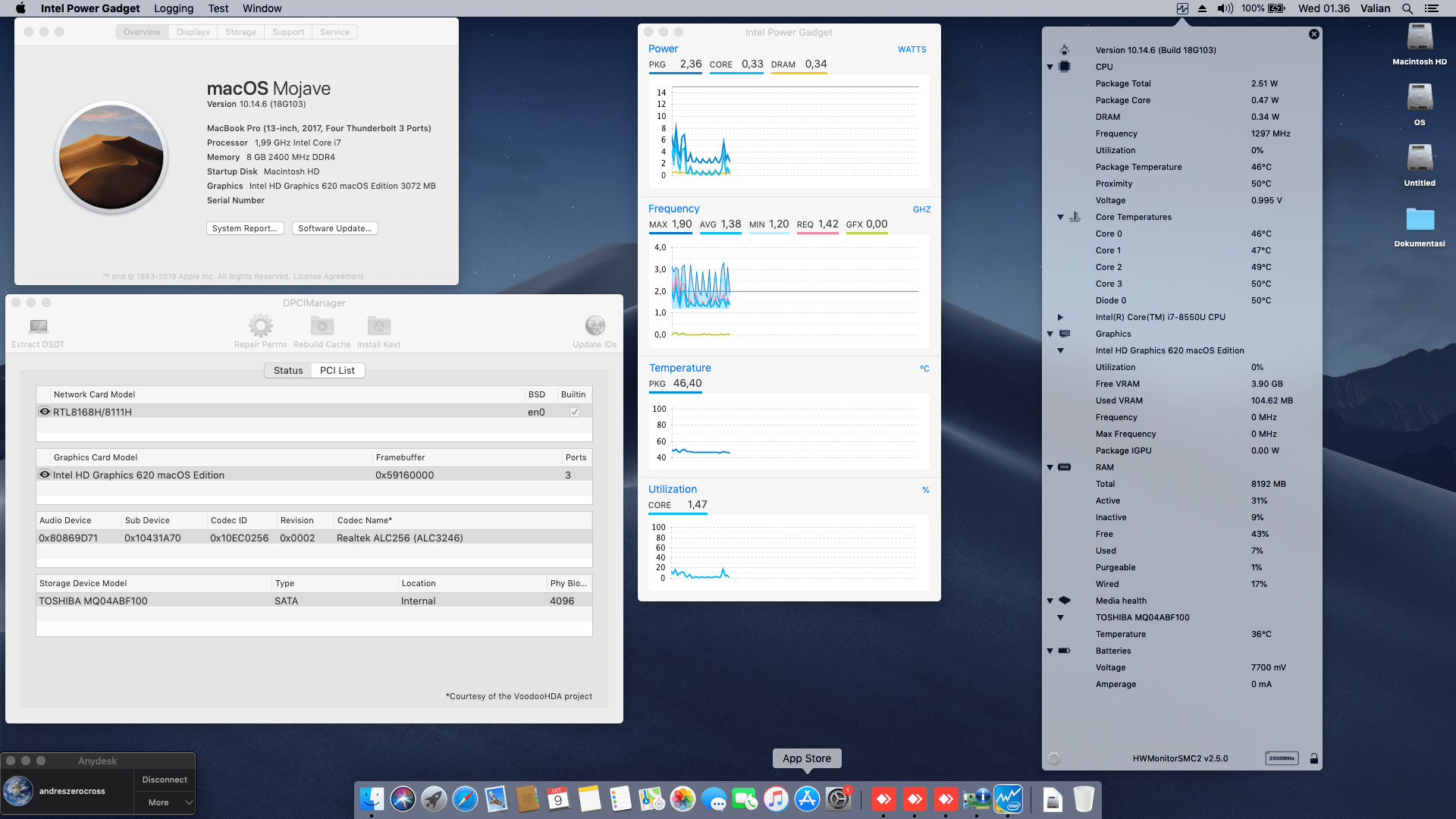 Success Hackintosh macOS Mojave 10.14.6 Build 18G103 at Asus A442UF-FA023T